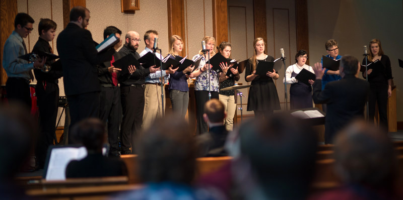The Chapel choir sings at a Wednesday Vespers worship service