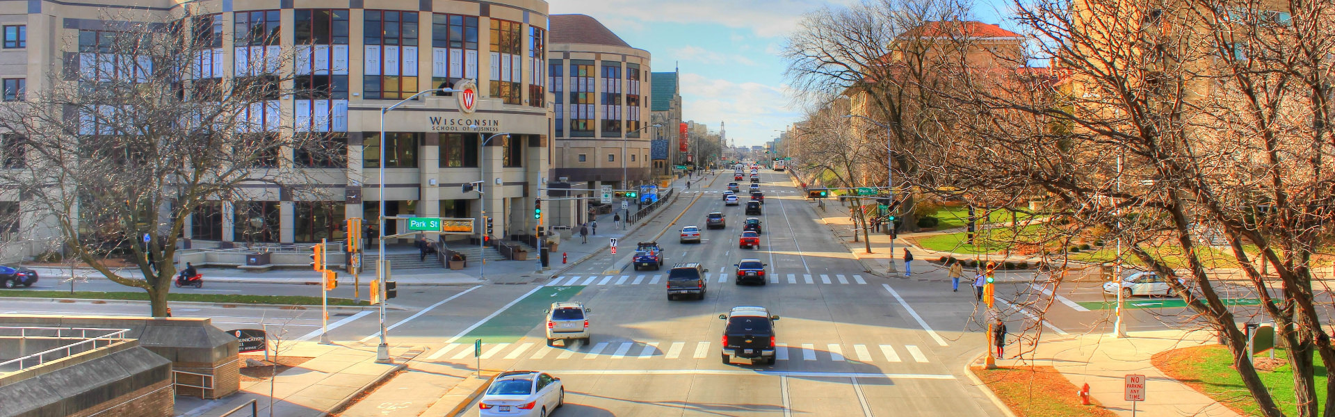 University Avenue on the UW-Madison campus in Madison, WI