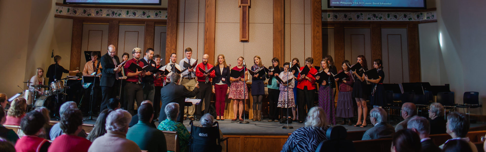 The Chapel choir sings during worship