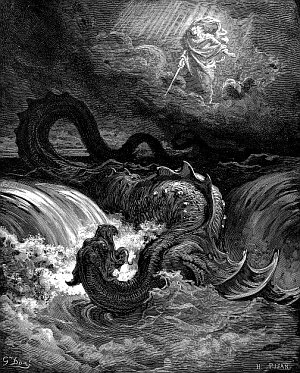 """Destruction of Leviathan"". 1865 engraving by Gustave Doré."